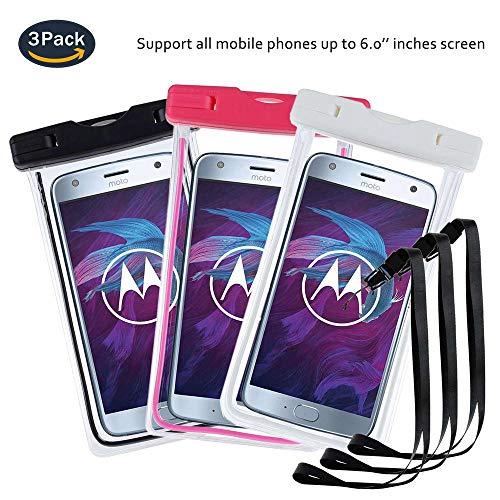pinlu® 3 Pack Custodia Impermeabile Smartphone, [IPX8 Certificato] Universale [6] Borsa Impermeabile per Ulefone Gemini, Ulefone Tiger Lite, Ulefone U007 PRO -Nero+Bianco+Rose Red