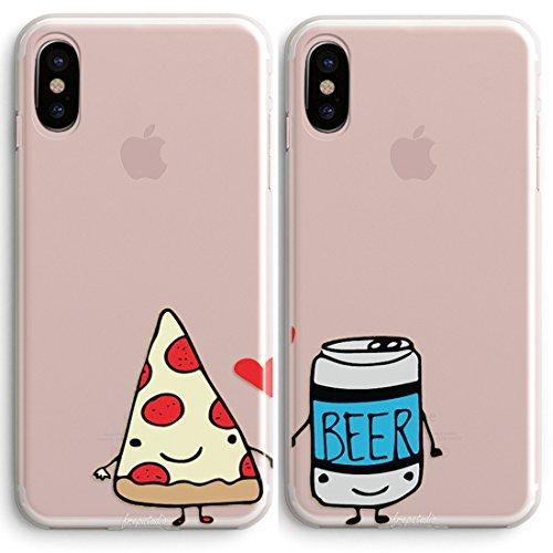 pizaa und Bier Friends Forever BFF Freund Freundin Paar Passende Geschenke Stuff iPhone Fällen Weiches Gummi iPhone 6,6s Fällen, 1 Case-Pizza for iPhone X