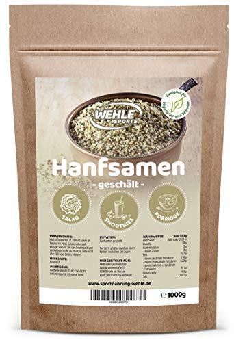 semi di canapa sbucciata, 1 kg fonte di proteine naturali, acidi grassi omega-3 e omega-6 insaturi essenziali - semi di canapa by wehle sports, vegan, gluten - free, crudi, 1000 g, seme di semi di ca