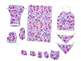 #7: Akshayaa New Born Gift Set Cotton Top, Cap, Diapre Pants, 2 Nappies, Bed Spread with Pillow, Pair of Hand Gloves & Shoe cum Socks, Bottle Cover With Gift Bag with Chain - Pack of 13 (Colour, Print May Vary)