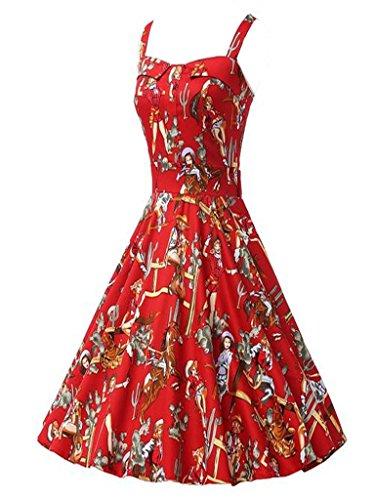 Eyekepper Frauen 1950'S Weinlese Audrey Hepburn Stil Rockabilly Abendkleider Rot