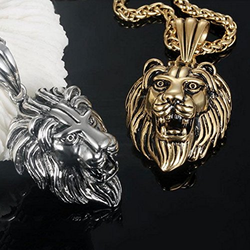 Jiayiqi Hommes De Puissance Lion Tête Titane Collier En Acier Silver