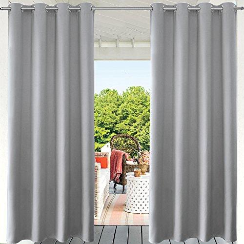 LIFONDER graue Verdunkelungsvorhänge für den Innen- und Außenbereich, für die Terrasse, Sichtschutz, Pavillon, Pergola/Veranda mit Ösen, 132,2 cm breit x 213,4 cm lang, 1 Stück - Möbel Schlafzimmer Baldachin