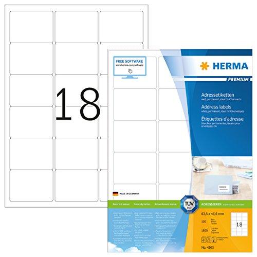 Herma 4265 Adressetiketten (63,5 x 46,6 mm) weiß, 1.800 Adressaufkleber, 100 Blatt Premium DIN A4 Papier matt, bedruckbar, selbstklebend