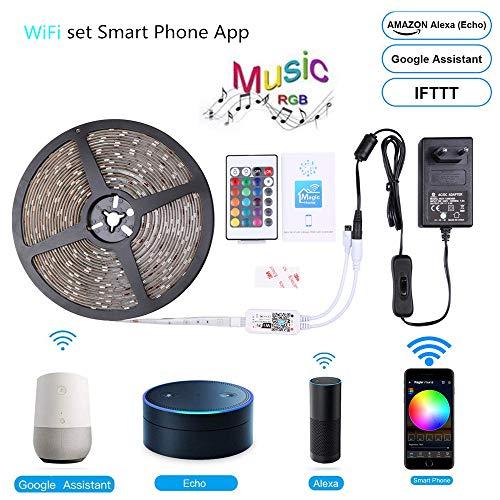 ngsstreifen, Wireless-LAN Wireless-Smart-Phone Controlled-Streifen-Licht-Kit 32.8ft 300leds 5050 wasserdicht IP65 LED-Leuchten, Arbeiten mit Android und IOS-System, Alexa ()