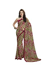 Appealing Green Colored Floral Printed Chiffon Saree By Triveni