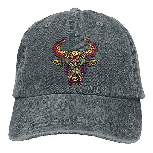 (GHEDPO Patterned Bull Denim Baseball Caps Hat Adjustable Cotton Sport Strap Cap for Men Women)