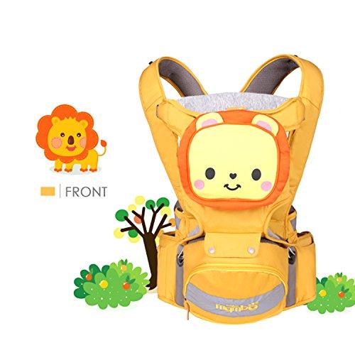 SONARIN 4 in 1 Multifunzione Cartone Animato Hipseat Baby Carrier,Portantina per bebè, Ergonomico,Adattato al crescente del tuo bambino,100% GARANZIA e CONSEGNA GRATUITA,Ideale Regalo(Arancia)
