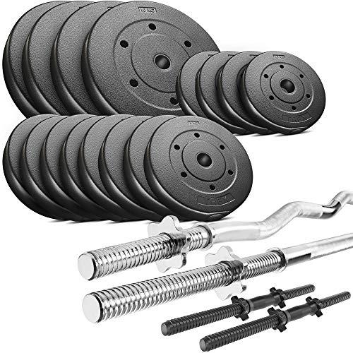 Trex Hantelset Lang-, Curl- und Kurzhantelstange mit Gewichten 50kg bis 160kg zur Wahl (90kg)