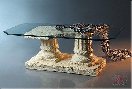 InterDecorShop Griechisch Couchtisch Akropolis Alt Antik Wohnzimmertisch Tisch Steinmöbel Glastisch - Couchtisch Alt
