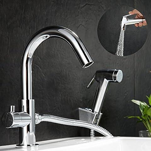 Kinse® 2 Jahren Garantie Doppelte funktion Kalte Küchenarmatur + Handbrause