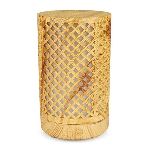Anself Ultrasónico de Grano de Madera Calado Difusor de Aroma Humidificador Dormitorio Aceite Esencial Máquina de Aromaterapia