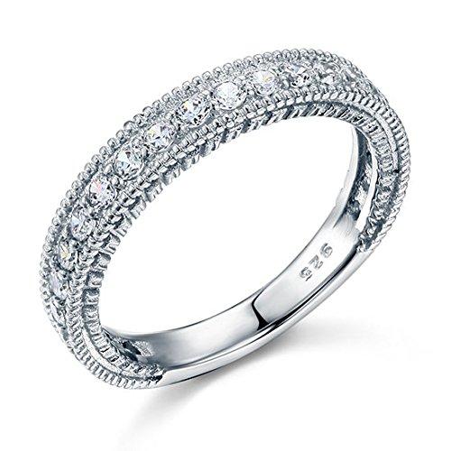 In argento Sterling 925, con solitario, Half Eternity con Anello per matrimonio a fascia, in sacchetto PreciousBags, Argento, 20, colore: argento