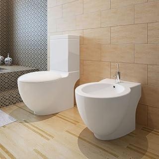 junhaofu Stand-Toilette/WC+Soft WC Sitz+Stand-Bidet Bodenstehend weiß Heimwerkerbedarf Küchen- und Sanitärinstallationen Sanitärkeramik & Armaturen Toiletten & Bidets