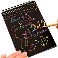 Fancartuk Scratch Art Paper for Kids, Rainbow Scratch Art Notes Paper Magic Scratch Art Notes Paper Boards