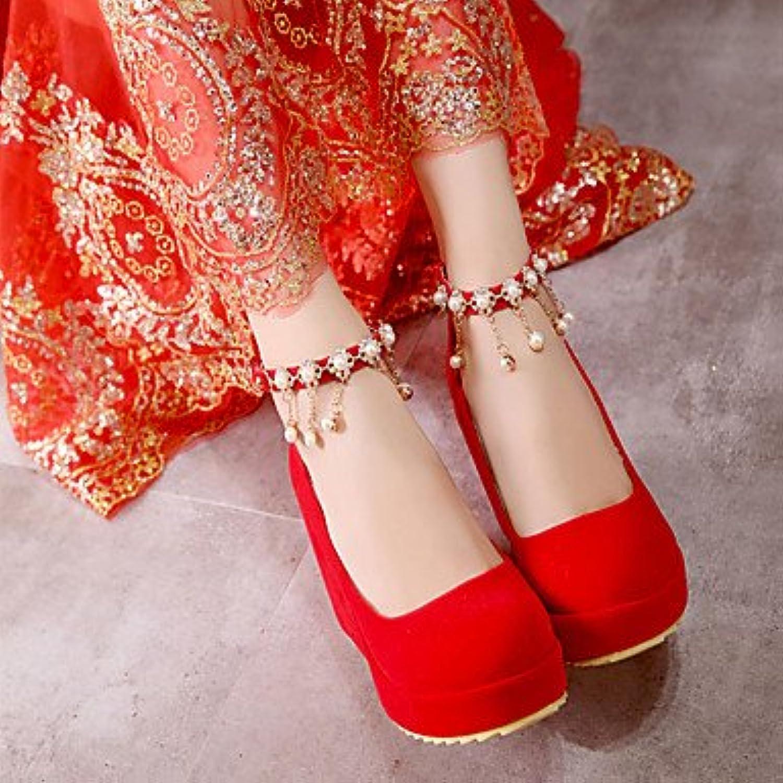 Zormey Women'S Boots Winter Mary Jane Pu Casual Wedge Heel Feather Red Us8.5 / Eu39 / Uk6.5 / Cn40