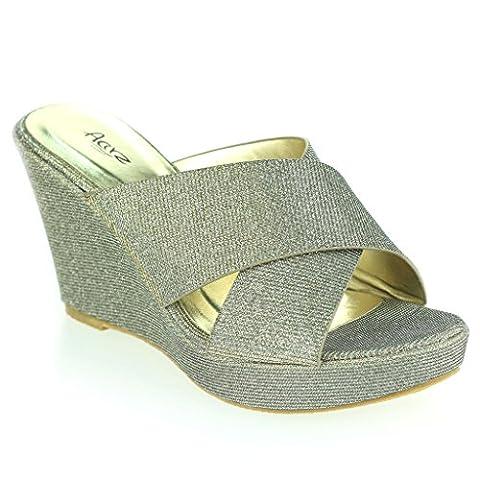 Femmes Dames Soir Fête Décontractée Tous les jours Confort Talon compensé Des sandales Étain Chaussures Taille 37