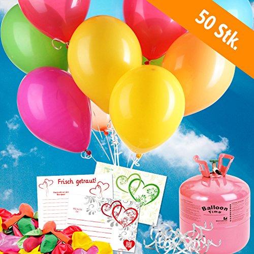 50 bunte HELIUM - LUFTBALLONS mit Ballonflugkarte - Komplett-Set aus Helium-Einwegflasche, Hochzeitsballons und Flugkarten - Gas Luftballons für bis zu 50 Hochzeitsgäste mit Flugkarten (Helium-tank Für 50 Ballons)
