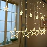 Stringa Luce Natale Luci Natalizie Led Interno Tenda Luminosa per Camera da letto, Festa, Matrimonio, Bagno, 12 stelle, 138 LED,bianco caldo