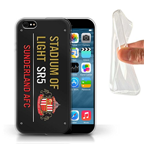 Offiziell Sunderland AFC Hülle / Gel TPU Case für Apple iPhone 6 / Pack 6pcs Muster / SAFC Stadium of Light Zeichen Kollektion Schwarz/Gold