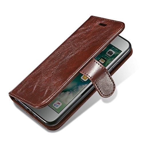 Schutzhülle für Apple iPhone 8 4.7 Zoll aufklappbare Hülle Book Style Hardcase Cover in Leder-Optik verschließbares Handy Case Braun
