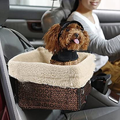 BAO CORE Foldable Pet Puppy Booster Car Seat Dog Travel Carrier Bag Bed Basket With Detachable Fleece Pad for Small Dogs… 1