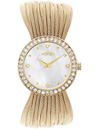 Aspen Vibrant White Ionic Gold Plating Round Dial Ladies Analog Watch - AP1987