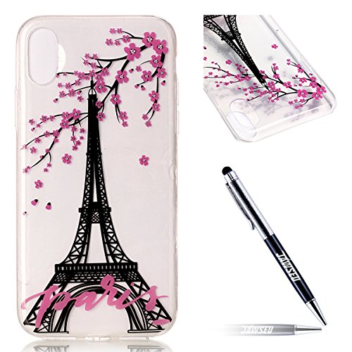 Custodia Cover iPhone X Transparente iPhone X Case, JAWSEU Creativo Disegno Antiurto Corpeture Cristallo Chiaro Case per iPhone X Super Sottile Case Custodia Cover per iPhone X Protettiva Shock-Absorp Floreale Torre Eiffel