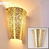 Prunkvolle Wandleuchte Zera aus Glas in Goldfarben – Wand-Lampe mit Up & Down-Effekt – LED-geeignete Zimmerleuchte für Wohnzimmer, Schlafzimmer, Kinderzimmer, Esszimmer, Flur – E27-Fassung