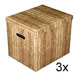 Ordnungsbox Dekobox aus Karton mit Deckel 3-er Set Motiv Holzkiste 37 x 30 x 32 cm
