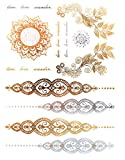 KLIMBIM Bling your Body mit Flash Metallic Tattoos Gold Schmuck Tattoo für Körper Finger Arme viele Designs (No.45)