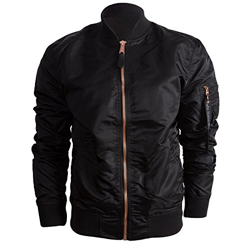 Alpha Industries Herren Bomberjacke MA-1 VF LW, Schwarz (Black/Copper 209), Large