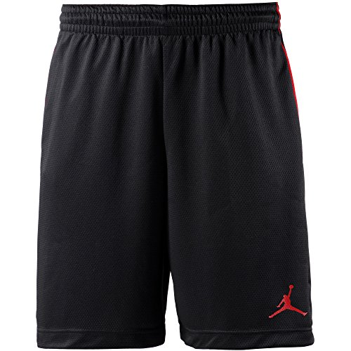 Nike Herren Rise Graphic Sportshorts, Nero/Nero/Gym Red/Gym Red, XL Basketball Shorts Schwarz Nike