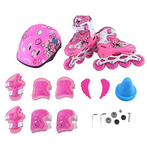 shuaishuang573 Inline Speed Skates Roller 4 Wheels Skating-Schuhe + Schutz Armschienen + Helm