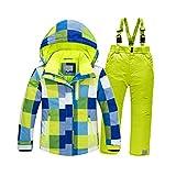 HANMAX Unisexe Combinaison de Ski Enfant Chaude Imperméable Habit de Neige Snowsuit Veste Sports d'Hiver et Loisirs et Pantalons