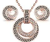 Juego de collar y pendientes para vestuario vintage, color oro rosado, diseño clásico