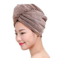 Fyore Ultra Absorbent Hair Turban Towel Quick Dry Anti Frizzy Microfiber Design for Women (Coffee)