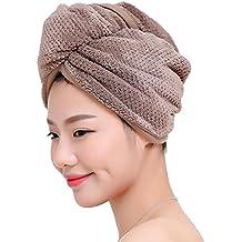 Fyore Ultra absorbente Turbante para el cabello Toalla de secado rápido Anti Frizzy Microfibra Diseño de