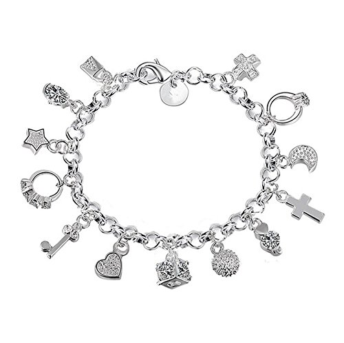 Westeng Charm Bracelet Women Silver Jewelry Hand Chain Pendants Decoration