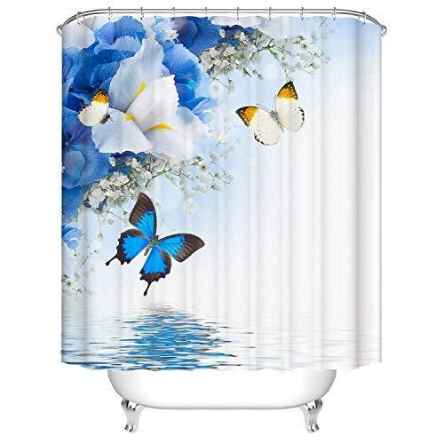 Blumen-Schmetterling Duschvorhang, Qile Top Qualität Anti-Schimmel & Anti-Bakteriell 3D Duschvorhänge für Bad Badezimmer 180 x 180 cm + 12 Haken