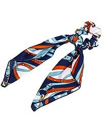 Haptian Señoras de Las Mujeres Cinta Larga Intestino Largo Cuerda de Pelo Pañuelo Bufandas Bowknot Vintage Titular de Cola de Caballo de Metal de Color Patrones de Cadena Scrunchies(Armada-1conjunto)