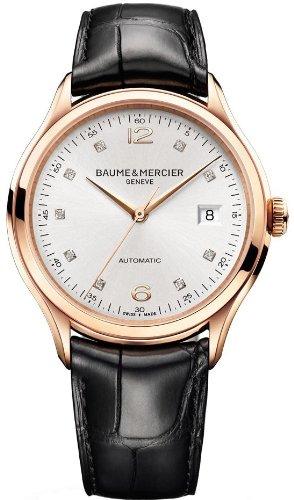 Baume and Mercier Clifton - Reloj de pulsera para hombre con dial de plata y diamante, oro rosa de 18 quilates, color negro