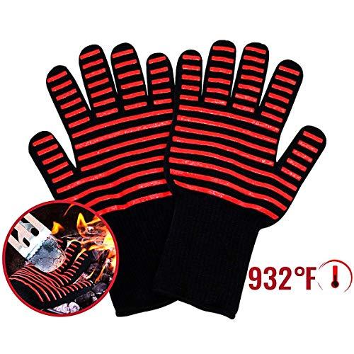 Jinxuny Hitzebeständige Handschuhe 1 Pair hitzebeständige Handschuhe hitzebeständig Multifunktion Antirutsch BBQ Grilling Mitts 500-800 Gradi Kochutensilien Resistent gegen hohe Temperaturen