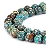 Preciosa piedra natural de ágata de encaje azul, cuentas sueltas redondas lisas de...