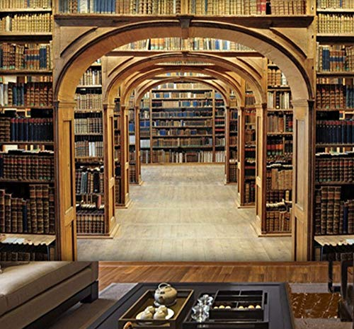 Kuamai Personalisierte Anpassung Räumliche Erweiterung Bibliothek Bücherregal Foto Wandbild Tapete Wohnzimmer Sofa Hintergrund Wand Fresco-450X300cm (Abstract Bücherregal)