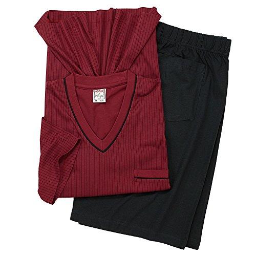 Adamo Ensemble pyjashort bordeaux/noir grandes tailles jusqu'au 9XL Adamo