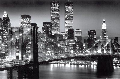 Empire 105530 New York Manhattan Brooklyn bridge Poster Noir et blanc 91.5 x 61 cm