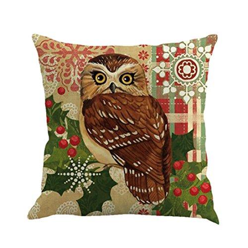 Weihnachten Kissen Polster Bezüge mingfa Weiche Eule Owl Muster Sofa-Bett Home Quadrat Werfen Kissen Bezüge 45cm * 45cm, Flax, g, Size: 45cm*45cm