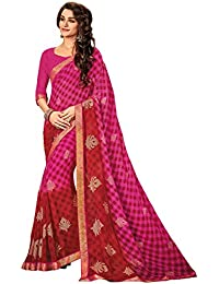 Shangrila Women's Pink & Red Color Georgette Printed & Zari Butta Saree