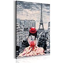 murando Cuadro en Lienzo 40x60 cm - XXL Format - 1 parte - Impresion en calidad fotografica - Cuadro en lienzo tejido-no tejido - Poster Paris torre Eiffel Francia Retrato Mujer h-B-0075-b-a 40x60 cm